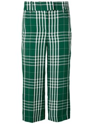 Dondup Cropped Check Trousers Women Cotton Linen Flax Viscose 44 Green