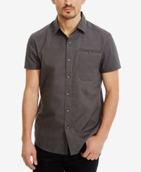 Kenneth Cole New York Men's Stretch Ripstop Shirt Ash Grey