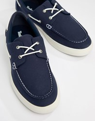 Timberland Newport Boat Shoes In Navy Canvas
