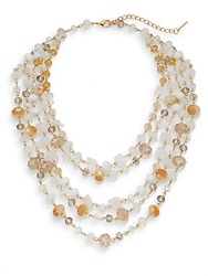 Saks Fifth Avenue Exotic Stone Multi Strand Collar Necklace Goldtone Gold Multi