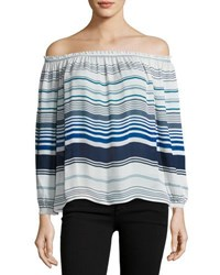 Joie Bamboo Off The Shoulder Striped Silk Top Black