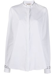 Alexander Mcqueen Stud Detail Collarless Shirt White