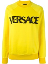 Versace Logo Sweatshirt Yellow And Orange
