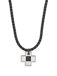 Swarovski Crystal Studded Cross Pendant And Leather Chain Black