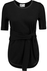 3.1 Phillip Lim Tie Front Ribbed Stretch Jersey Top Black