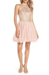 Blondie Nites Embellished Fit And Flare Dress Blush Gold