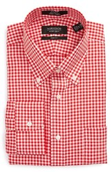 Nordstrom Men's Big And Tall Men's Shop Trim Fit Non Iron Gingham Dress Shirt Red Blaze