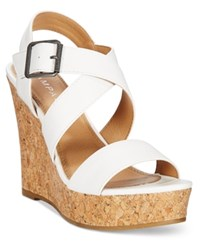 Rampage Happy Platform Wedge Sandals Women's Shoes White