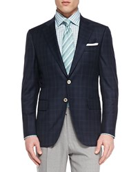 Isaia Plaid Two Button Jacket Navy Green Size 42 43R