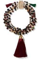 Rosantica Gitana Layered Gold Tone Bead And Tassel Necklace Claret