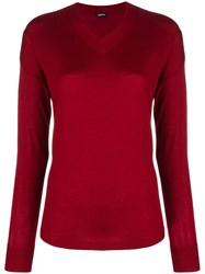 Aspesi Fine Knit V Neck Sweater Red