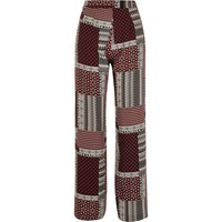 River Island Womens Red Patchwork Wide Leg Trousers