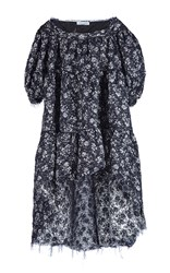 Sonia Rykiel Silver Brocade Flounced Dress Blue White Grey