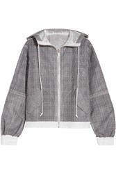 Sacai Hooded Laser Cut Prince Of Wales Checked Cotton Jacquard Jacket Dark Gray