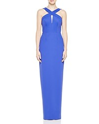 Adrianna Papell Sleeveless Keyhole Gown Blue