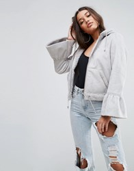 Asos Cropped Jacket In Faux Leather With Flute Sleeve Gray