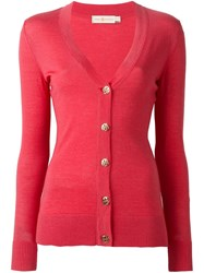 Tory Burch Logo Button Cardigan Pink And Purple