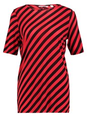 Cheap Monday Avant Slash Stripe Print Tshirt Red Black