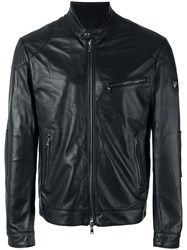 Hackett Banded Collar Leather Jacket Black