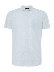 Criminal Lisbon Print Short Sleeve Shirt Blue