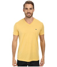 Lacoste S S Pima Jersey V Neck T Shirt Gold Men's Short Sleeve Pullover