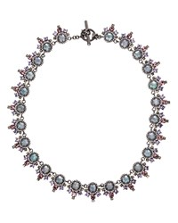 Marchesa Ornate Collar Necklace 16 Silver Multi