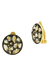 Freida Rothman Rosecut Disc Clip Earrings Black Rhodium Gold