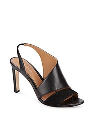 Elie Tahari Harper Leather And Suede Asymmetrical Pumps Black