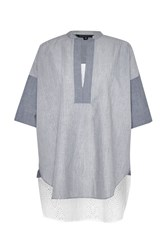 French Connection Ellis Mix 3 4 Sleeve Tunic Shirt White And Navy White And Navy