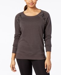 Material Girl Active Juniors' Lace Up Sweatshirt Created For Macy's Wood Bark