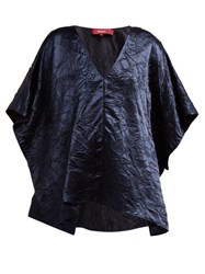 Sies Marjan May Crinkle Effect Batwing Satin Top Navy