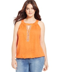 Inc International Concepts Plus Size Beaded Keyhole Halter Indian Orange