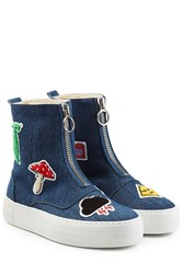 Joshua Sanders Denim Platform Boots With Patches Blue