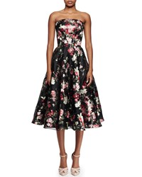 Alexander Mcqueen Strapless Full Skirt Cocktail Dress Black Multi Black Mix