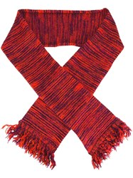Ymc Striped Frayed Scarf Red