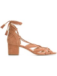 Michael Michael Kors 'Mirabelle' Lace Up Sandals Brown