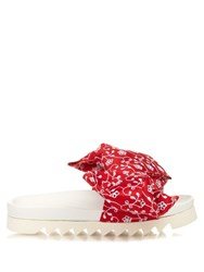 Joshua Sanders Broderie Anglaise Bow Platform Slides Red White