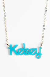 Women's Moon And Lola 'Zebra Block Font' Personalized Nameplate Pendant Necklace Turquoise Gold