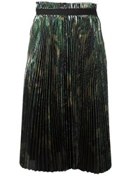 Off White Metallic Effect Pleated Skirt Green