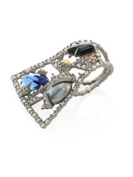 Alexis Bittar Crystal Mosaic Lace Double Finger Fan Ring Silver Multi