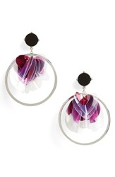 Natasha Sequin Statement Earrings Two Tone Purple