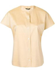 Theory Short Sleeve Fitted Shirt Neutrals