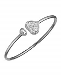 Chopard Happy Hearts 18K White Gold Pave Diamond Bangle Bracelet