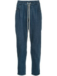 Bassike Drawstring Fitted Trousers Blue