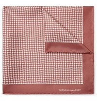 Turnbull And Asser Puppytooth Print Silk Twill Pocket Square Pink