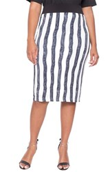 Plus Size Women's Eloquii Stripe Midi Ponte Pencil Skirt