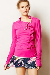 Anthropologie Pure Good Ruffle Jacket Pink L Activewear