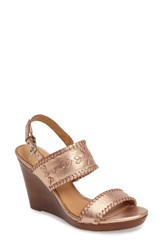 Jack Rogers Women's 'Vanessa' Wedge Sandal Rose Gold Leather
