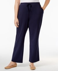 Karen Scott Plus Size High Rise Knit Pants Only At Macy's Intrepid Blue