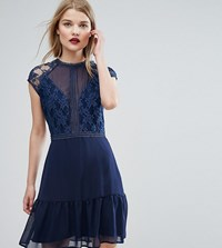 Elise Ryan Lace Contrast Mini Dress With Pep Hem Navy